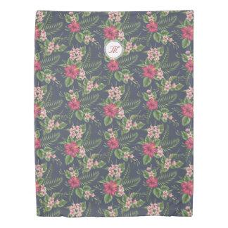 Floral Pattern Hibiscus Monogram Duvet Cover