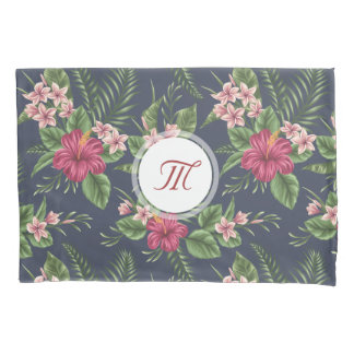 Floral Pattern Hibiscus Monogram Pillow Case