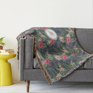 Floral Pattern Hibiscus Monogram T Blanket Throw