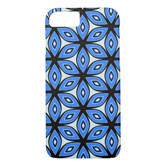 Floral pattern in blue and black iPhone 7 case