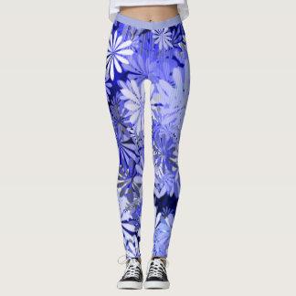 Floral Pattern in Denim Blues Leggings