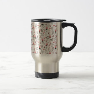 Floral pattern in Pink and Magenta Travel Mug