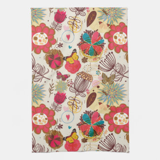 Floral pattern in retro style 4 kitchen towel