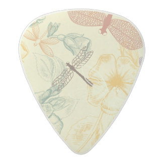 Floral pattern in vintage style dragonfly foliage acetal guitar pick
