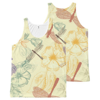 Floral pattern in vintage style dragonfly foliage All-Over-Print tank top