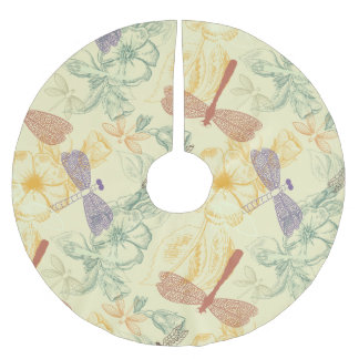 Floral pattern in vintage style dragonfly foliage brushed polyester tree skirt