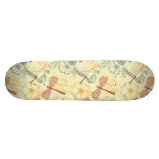 Floral pattern in vintage style dragonfly foliage custom skate board