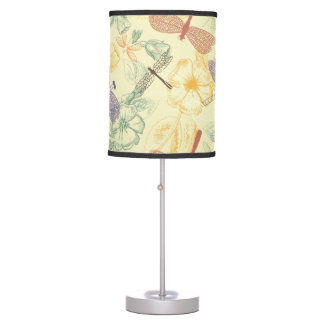 Floral pattern in vintage style dragonfly foliage desk lamp