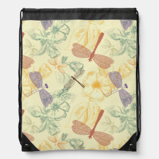 Floral pattern in vintage style dragonfly foliage drawstring bag