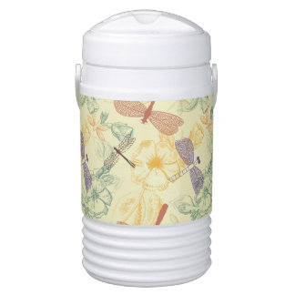 Floral pattern in vintage style dragonfly foliage drinks cooler