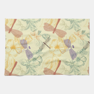 Floral pattern in vintage style dragonfly foliage kitchen towel