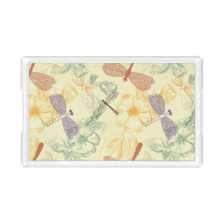Floral pattern in vintage style dragonfly foliage perfume tray