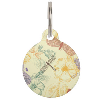 Floral pattern in vintage style dragonfly foliage pet tag