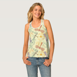 Floral pattern in vintage style dragonfly foliage tank top