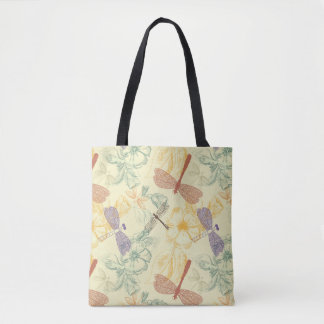 Floral pattern in vintage style dragonfly foliage tote bag