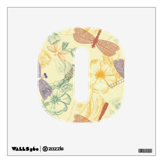 Floral pattern in vintage style dragonfly foliage wall sticker