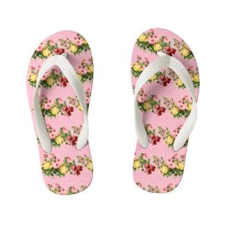Floral Pattern Kid's Flip Flops