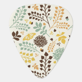 Floral pattern: leaves, flowers and butterfly pick