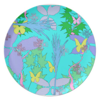 Floral Pattern Melamine Plate