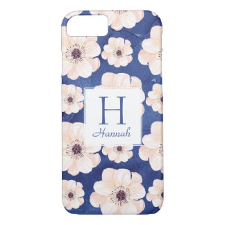 Floral Pattern Monogram Blue and Peach iPhone 7 Case