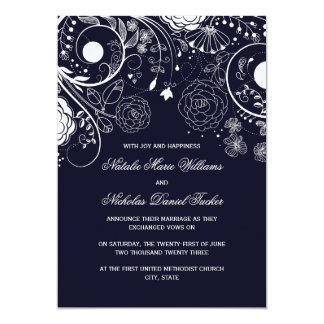 Floral Pattern Navy - Wedding Announcement