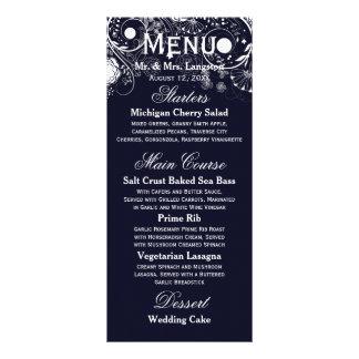 Floral Pattern Navy/White - Reception Menu Custom Rack Cards