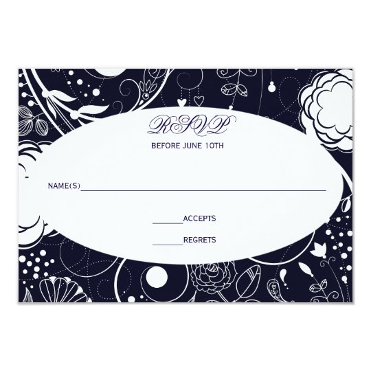 Floral Pattern Navy/White - RSVP Card