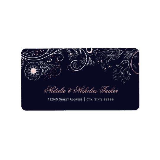 Floral Pattern Navy with Tulip - Address Labels