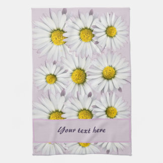 Floral Pattern of White and Yellow Daisies Hand Towel