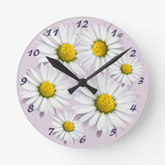 Floral Pattern of White and Yellow Daisies Round Clock