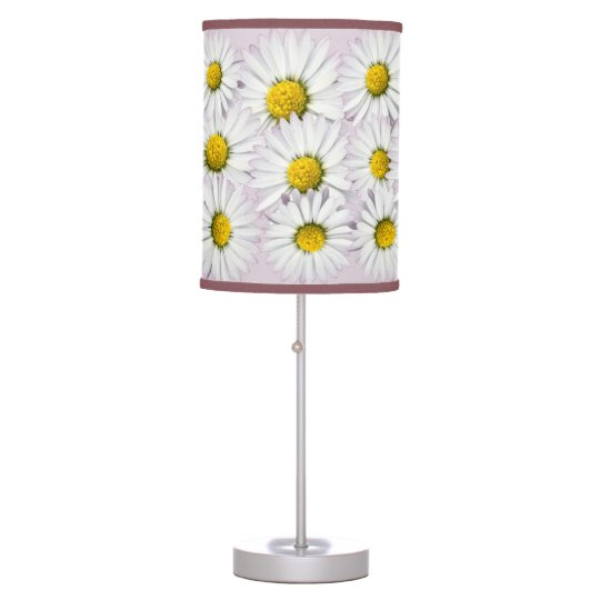 Floral Pattern of White and Yellow Daisies Table Lamp
