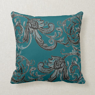 """Floral pattern on Green - 16"""" x 16"""" pillow"""