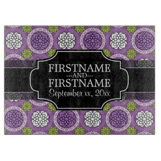 Floral Pattern - Radiant Orchid and Black Cutting Board