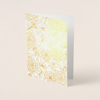 FLORAL PATTERN REAL GOLD FOIL PRINT CARD