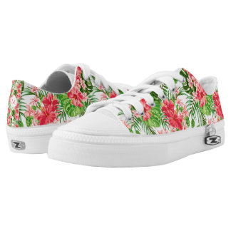 Floral Pattern Red Hibiscus Monogram Low Shoes