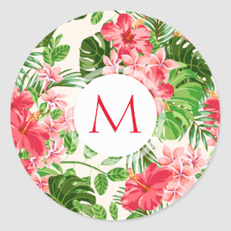 Floral Pattern Red Hibiscus Monogram Round sticker