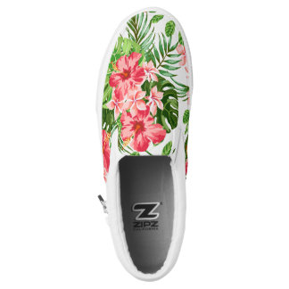 Floral Pattern Red Hibiscus Monogram Slip On Shoes