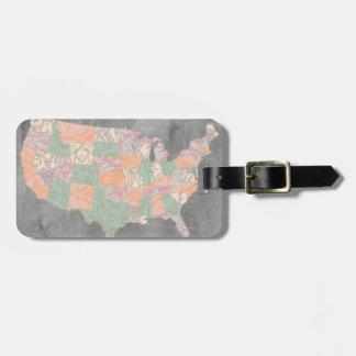 Floral Pattern States Map Bag Tag
