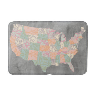 Floral Pattern States Map Bathroom Mat