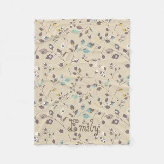 Floral Pattern Texture Fleece Blanket