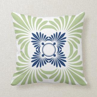 Floral Pattern Throw Pillows:Blue Green Throw Pillow