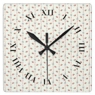 Floral Pattern Vintage Grandma Nostalgic Romantic Square Wall Clock