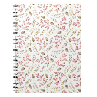 Floral pattern with berries spiral notebook