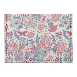Floral pattern with bird and butterfly tyvek® card wallet