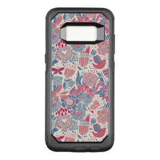 Floral pattern with bird and butterfly OtterBox commuter samsung galaxy s8 case