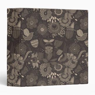 Floral pattern with cartoon birds 2 vinyl binders