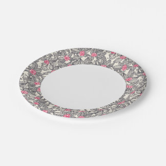 Floral pattern with cartoon birds 7 inch paper plate