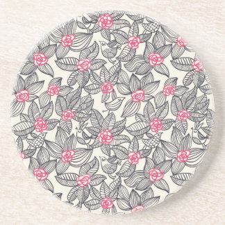 Floral pattern with cartoon birds drink coaster