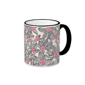 Floral pattern with cartoon birds ringer coffee mug