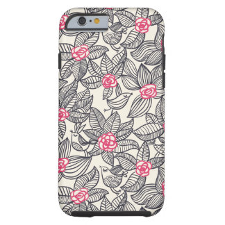 Floral pattern with cartoon birds tough iPhone 6 case